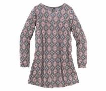 Jerseykleid bedruckt für Mädchen grau / altrosa