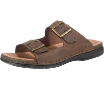 Sandalen mit goldenen Schnallen braun