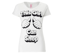 "T-Shirt ""This Girl Can Shop"" schwarz / weiß"