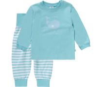 Baby Schlafanzug für Jungen türkis / weiß