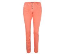 Jeans mit Crinkle-Effekt koralle
