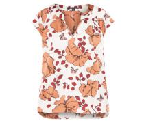 Bluse mit besonderer Musterung pastellorange / weiß