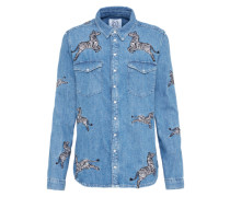 Denimbluse mit Zebra-Stickerei blue denim