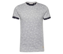 T-Shirt 'Oxley Tee' mit Inside-Out-Print navy / grau / weiß