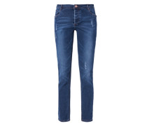Ankle Destroyed-Jeans blau