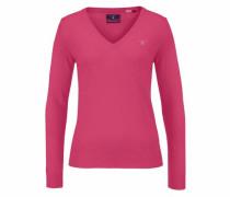 Extrafeiner V-Pullover pink