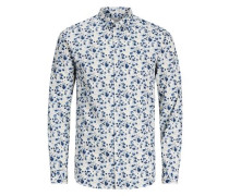 Blumiges Langarmhemd blau / weiß