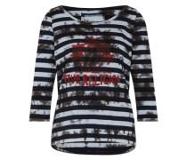 Shirt mit 3/4 Arm 'Batik Palm' rot / schwarz / weiß
