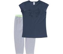 Schlafanzug für Mädchen dunkelblau / mint / weiß