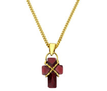Anhänger ohne Kette mit Zirkonia 'Kreuz' gold / rot
