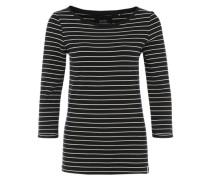 Jerseyshirt mit U-Boot-Ausschnitt schwarz
