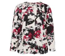 Langärmelige Bluse rot / schwarz / weiß