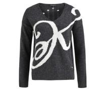 Pullover 'rhabea' grau / graumeliert / weiß