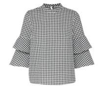 Bluse 'pepita' mit Volants schwarz / weiß