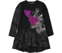 Kinder Jerseykleid mit Wendepailletten dunkellila / schwarz