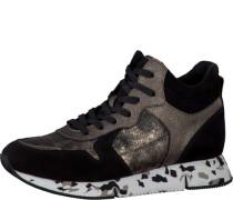 Sneaker mit Material Mix grau / schwarz