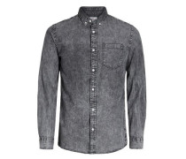 Denim-Langarmhemd grey denim