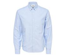 Einfarbiges Langarmhemd blau