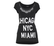 Shirt »Mit Applikation und Ziersteinen« schwarz