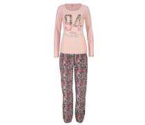 Pyjama mit mehrfarbigem Paisleymuster rosa