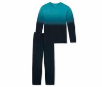 langer Pyjama türkis / ultramarinblau