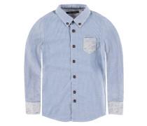 Hemd langärmlig blau / weiß