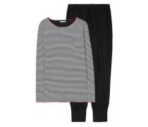 Schlafanzug 'Danella' schwarz / weiß