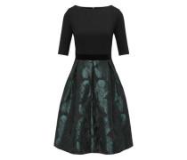 Partykleid mit Taillenbünchen aus Samt smaragd / schwarz