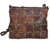 Patchwork Umhängetasche Leder 29 cm braun