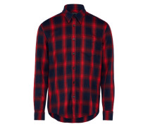 Flanellhemd 'kolor' dunkelblau / rot