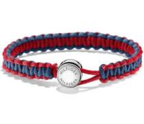 Armband 'Makramee' blau / rot / silber
