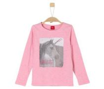 Shirt mit glitzerndem Einhorn-Print braun / grau / pinkmeliert