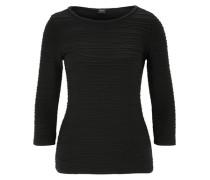 Stretch-Shirt mit Flecht-Detail schwarz