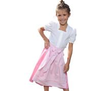 Set 3tlg. Kinder Bluse Rock und Schürze pink / rosa / weiß