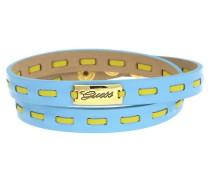Wickelarmband Leder Hellblau/Gelb Ubb21306 hellblau / gelb / gold