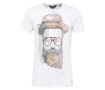 T-Shirt 'Kavon' grau / weiß