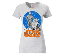 "T-Shirt ""r2-D2 & C-3Po"" blau / orange / weißmeliert"