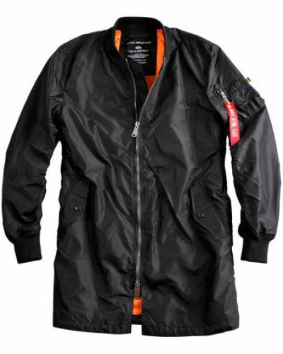 Bomberjacke in Longform orange / schwarz