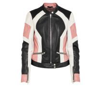 Bikerjacke 'Suzuka' pink / schwarz / weiß