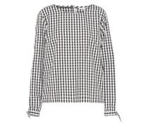 Bluse 'checked tunic with bow cuff' schwarz / weiß