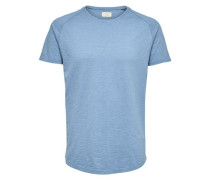 Baumwoll - T-Shirt royalblau / blaumeliert
