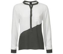 Blusenshirt khaki / weiß