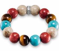 Armband beige / türkis / braun / rot / silber