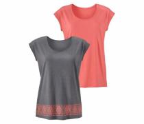 Shirts (2 Stück) basaltgrau / koralle