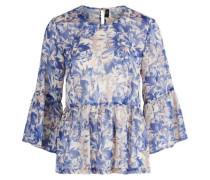 transparente Peplum-Bluse blau / mischfarben
