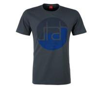 T-Shirt mit Print und Wording blau / dunkelblau / basaltgrau