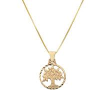 Kette mit Anhänger 'Lebensbaum' gold