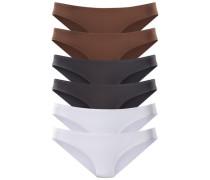 Bikinislips Active (6 Stck.) braun / grau / weiß