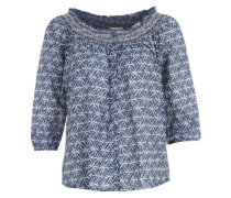Bluse mit gesmoktem Carmenausschnitt blau