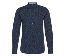 Hemd 'Slim printed stretch shirt' dunkelblau / weiß